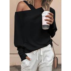 Jednobarevný Jedno rameno Dlouhé rukávy Neformální Elegant Bluze