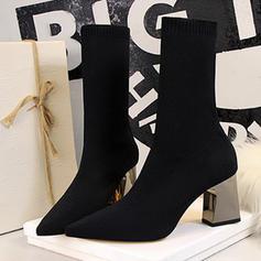 De mujer Malla Tacón ancho Salón Cerrados Botas Botas longitud media con Cordones Tacones con cristal zapatos