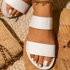 De mujer Cuero Tacón plano Sandalias Planos Encaje Solo correa Pantuflas con Material Block zapatos