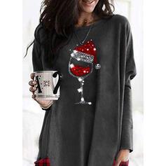 rács flitry Kapsy Kulatý Výstřih Dlouhé rukávy Vánoční mikina