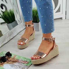 De mujer PU Tipo de tacón Sandalias Cuñas Encaje Tacones con Hebilla Estampado de animales zapatos