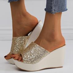 De mujer PU Tipo de tacón Sandalias Cuñas Encaje Pantuflas Tacones con Lentejuelas Brillo Chispeante zapatos