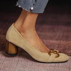 婦人向け スエード チャンクヒール ポンプ かかと とともに チェーン ソリッドカラー 靴