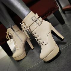 De mujer PU Tacón ancho Salón Plataforma Botas longitud media con Cremallera Cordones zapatos