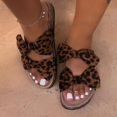 De mujer Tejido Tacón plano Sandalias Encaje Pantuflas con Bowknot Estampado de animales zapatos