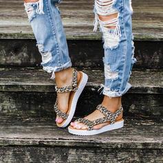 De mujer PU Tacón plano Sandalias Encaje con Velcro zapatos