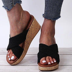 Women's PU Wedge Heel Sandals Platform Wedges Peep Toe Slippers With Hollow-out Crisscross shoes