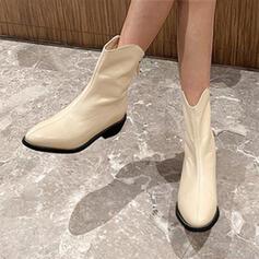 Femmes Similicuir Bottes Bottes mi-mollets avec Couleur unie chaussures