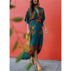 Print/Floral 3/4 Sleeves Sheath Elegant/Vacation Midi Dresses