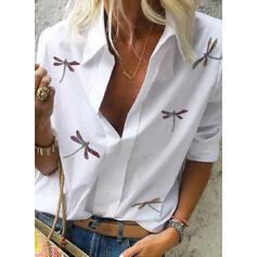 Zwierzęcy Klapa Długie rękawy Casual Bluski koszulowe