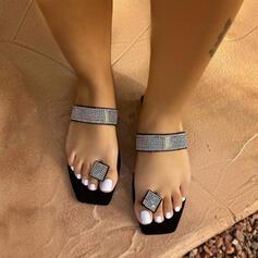 Women's EVA Flat Heel Sandals Flats Peep Toe With Rhinestone shoes