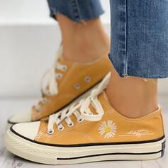 Női Vászon Alkalmi Szabadtéri -Val Lace-up Virág cipő