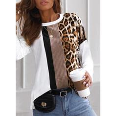 Color Block Leopard Kulatý Výstřih Dlouhé rukávy Trička