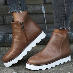 Femmes PU Plateforme Chaussures plates Bottes avec Zip Couleur unie chaussures