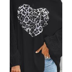 Leopard Ozdobený Korálky Srdce Kulatý Výstřih Dlouhé rukávy Neformální Blůzy