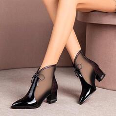 Dámské Koženka Široký podpatek Boty S Našívaná krajka Šněrovací Solid Color obuv