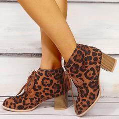 De mujer Cuero Tacón ancho Botas con Cordones zapatos