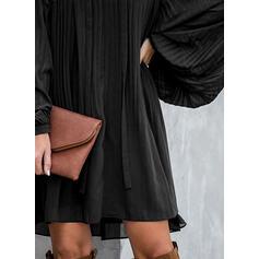 レース/固体 長袖 シフトドレス 膝上 リトルブラックドレス/エレガント ドレス