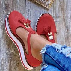 De mujer Cuero Tacón plano Sandalias Cerrados Solo correa con Borla zapatos