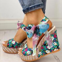 De mujer Tela Tipo de tacón Sandalias Encaje con Bowknot Cordones zapatos