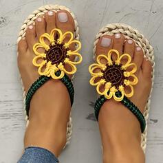 De mujer PU Tacón plano Sandalias Planos Encaje Pantuflas con Flor zapatos