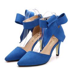 Mulheres Camurça Salto agulha Sandálias Bombas Fechados com Bowknot sapatos