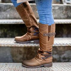De mujer Cuero Tacón bajo Botas longitud media Encaje con Hebilla zapatos