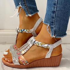 PU Γωνία κλίσης Σανδάλια Ανοιχτά σανδάλια toe Με Τεχνητό διαμάντι παπούτσια