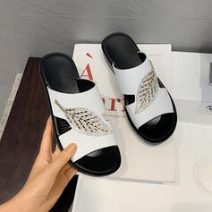 De mujer PU Tacón plano Sandalias Pantuflas zapatos