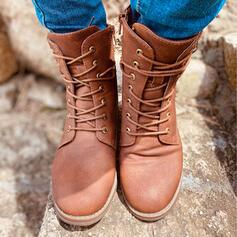 De mujer PU Tacón bajo Botas longitud media Encaje con Cordones Color sólido zapatos