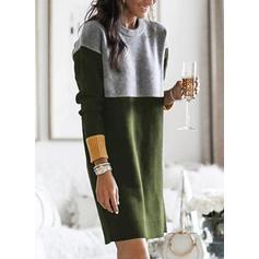 Bloco de Cor Manga Comprida Shift Comprimento do joelho Casual Suéter Vestidos
