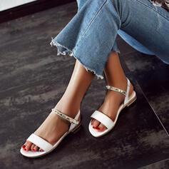 De mujer Cuero Tacón plano Sandalias Encaje con Hebilla zapatos