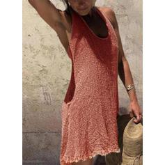 Jednolity Dekolt w kształcie litery U Casual Sukienka sweterkowa