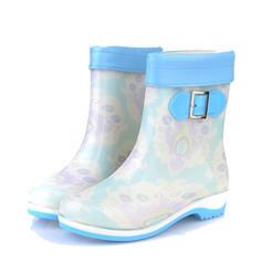 De mujer PVC Tacón bajo Cerrados Botas Botas al tobillo Botas de lluvia con Hebilla zapatos