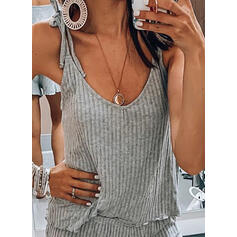 Cuello en U Sin mangas Color sólido Atractivo Conjuntos superiores y cortos