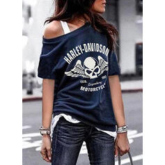 Print Figure Round Neck 1/2 Sleeves Casual T-shirts
