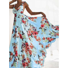 Print/Floral/Backless Sleeveless A-line Skater Sexy/Party/Vacation Maxi Dresses