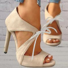 Toc Stiletto Sandale Încălţăminte cu Toc Înalt Puţin decupat în faţă Tocuri cu Lace-up De la gât înafară Culoare solida pantofi
