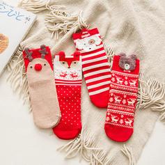 kvinner god jul Snømann reinsdyr nisse Bomull Strømper Julesokker (Sett med 4)