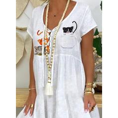 Nadruk zwierzęcy Krótkie rękawy Koktajlowa Długośc do kolan Casual T-shirt Sukienki