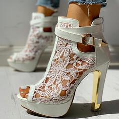 De mujer Malla Tacón stilettos Salón Encaje con Bowknot Agujereado zapatos