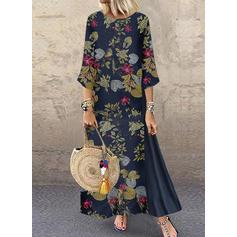 Impresión/Floral Mangas 3/4 Tendencia Casual/Vacaciones Maxi Vestidos