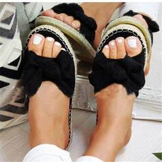 Dla kobiet Zamsz Płaski Obcas Sandały Otwarty Nosek Buta Kapcie Z Kokarda obuwie
