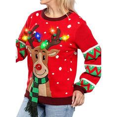 Dámská Polyester Tisk Jelen Ošklivý vánoční svetr