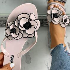 De mujer PVC Tacón plano Sandalias Chancletas Pantuflas con Flor zapatos