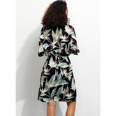 Print/Floral 1/2 Sleeves A-line Knee Length Casual/Boho/Vacation Wrap Dresses