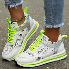 Women's PU Flat Heel Flats Low Top Sneakers With Lace-up Print shoes