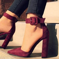 Pentru Femei Piele de Căprioară Toc gros Încălţăminte cu Toc Înalt cu Cataramă pantofi