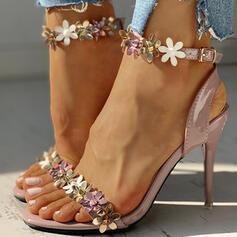 De mujer PU Tacón stilettos Sandalias Encaje con Hebilla Flor zapatos