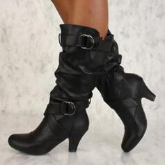 Frauen PU Spule Absatz Absatzschuhe Stiefel mit Schnalle Schuhe